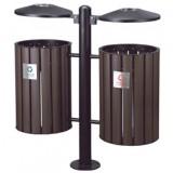 环保分类钢木垃圾桶