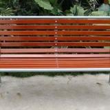户外钢木结构长椅