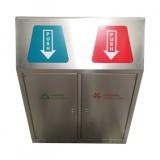 室内带盖双分类不锈钢垃圾桶