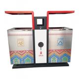 公园室外UV打印两分类不锈钢垃圾箱