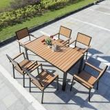 景区商业钢木休闲桌椅
