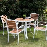 天台景区户外钢木休闲桌椅组合