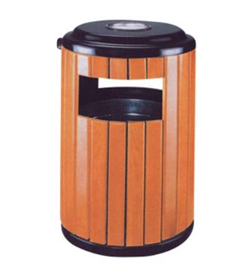 户外钢木园林垃圾桶