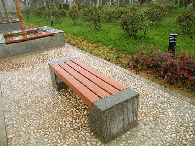 石头底座户外园林椅